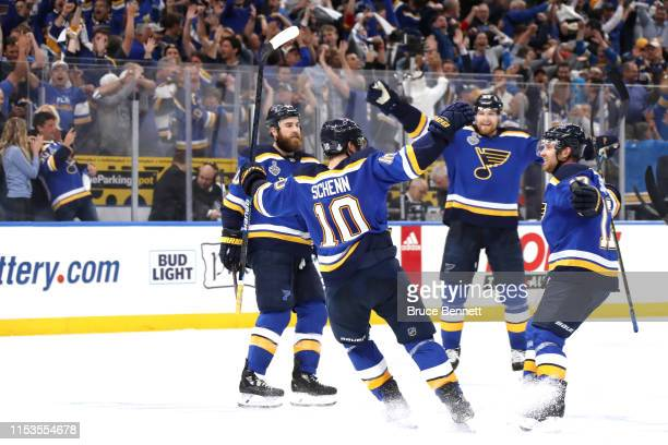 Brayden Schenn of the St Louis Blues celebrates his emptynet goal in the third period at 1831 against the Boston Bruins in Game Four of the 2019 NHL...