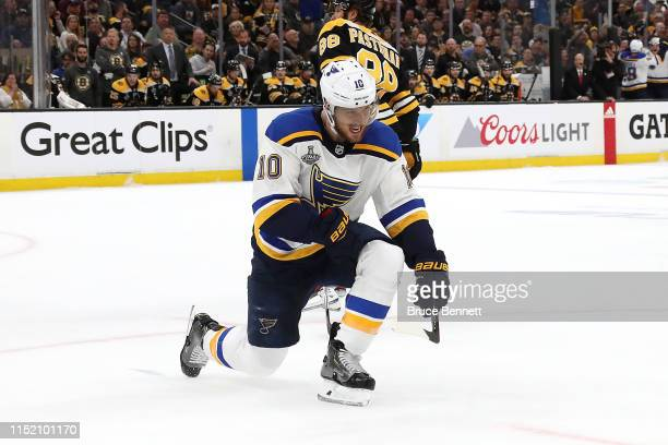 Brayden Schenn of the St Louis Blues celebrates his first period goal against the Boston Bruins in Game One of the 2019 NHL Stanley Cup Final at TD...