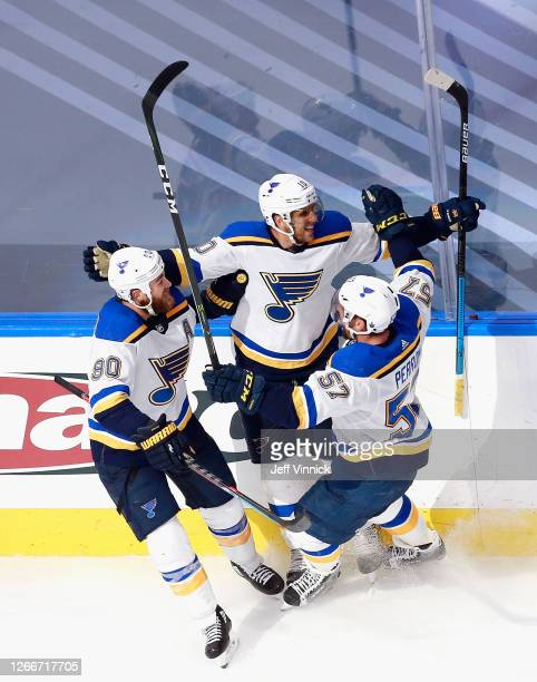 Brayden Schenn of the St. Louis Blues celebrates his game winning goal at 15:06 of overtime against the Vancouver Canucks in Game Four of the Western...