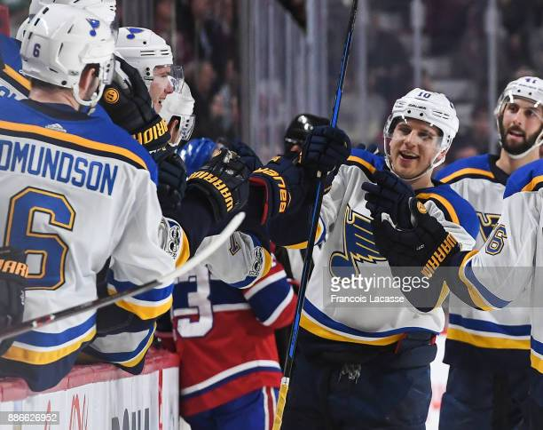 Brayden Schenn of the St Louis Blues celebrates his third goal of the game for the 'hat trick' against the Montreal Canadiens in the NHL game at the...