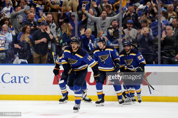 Brayden Schenn of the St Louis Blues celebrates with teammates after scoring a goal on Martin Jones of the San Jose Sharks during the second period...