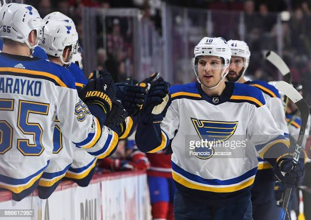Brayden Schenn of the St Louis Blues celebrates with the bench after scoring a goal against the Montreal Canadiens in the NHL game at the Bell Centre...