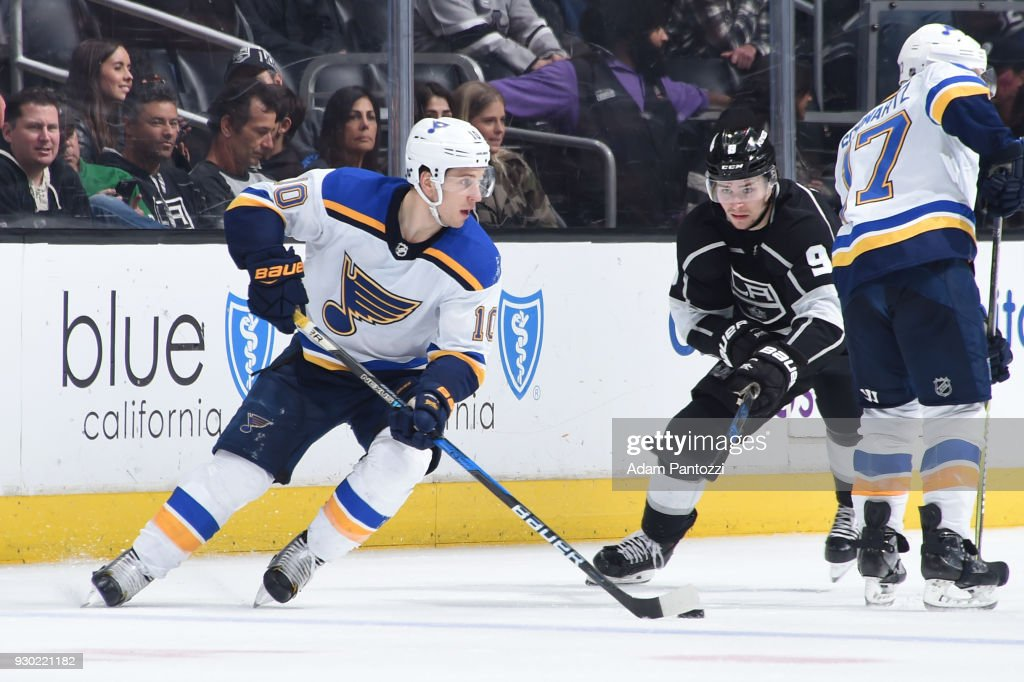 Brayden Schenn #10 of the St. Louis Blues handles the puck during a game against the Los Angeles Kings at STAPLES Center on March 10, 2018 in Los Angeles, California.