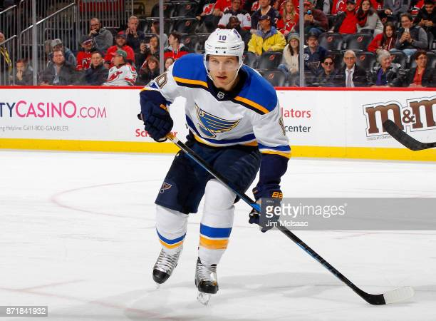 Brayden Schenn of the St Louis Blues in action against the New Jersey Devils on November 7 2017 at Prudential Center in Newark New Jersey The Blues...