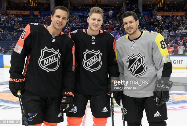 Brayden Schenn of the St Louis Blues Nathan MacKinnon of the Colorado Avalanche and Sidney Crosby of the Pittsburgh Penguins pose for a photo during...