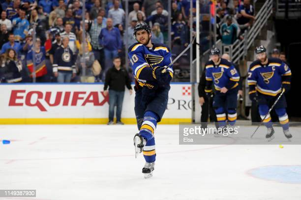 Brayden Schenn of the St Louis Blues reacts after a possible hand pass that lead to a game winning overtime goal scored by Erik Karlsson of the San...
