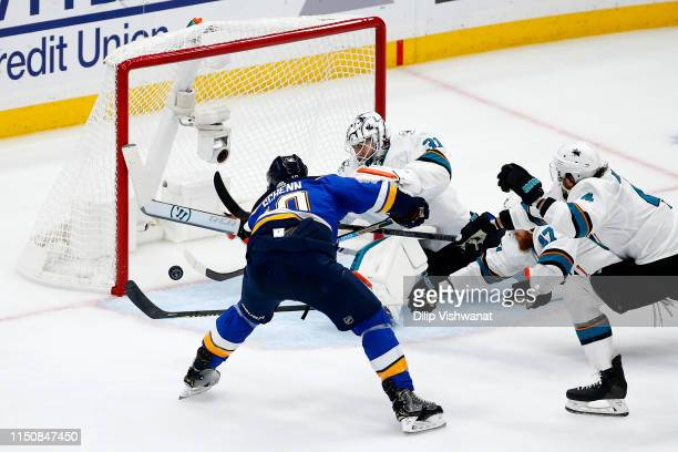 Brayden Schenn of the St Louis Blues scores a goal on Martin Jones of the San Jose Sharks during the second period in Game Six of the Western...