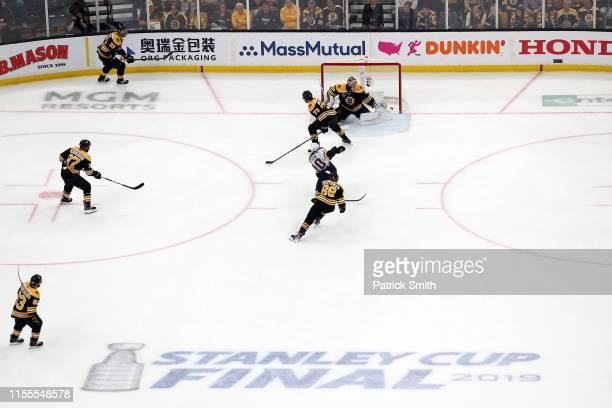 Brayden Schenn of the St Louis Blues scores a third period goal past Tuukka Rask of the Boston Bruins in Game Seven of the 2019 NHL Stanley Cup Final...