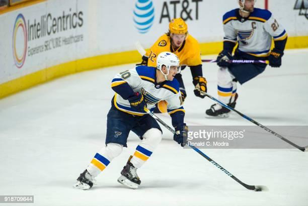 Brayden Schenn of the St Louis Blues skates against the Nashville Predators during an NHL game at Bridgestone Arena on February 13 2018 in Nashville...