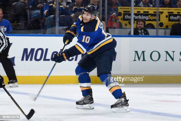 Brayden Schenn of the St Louis Blues takes a shot against the Dallas Stars at Scottrade Center on October 7 2017 in St Louis Missouri