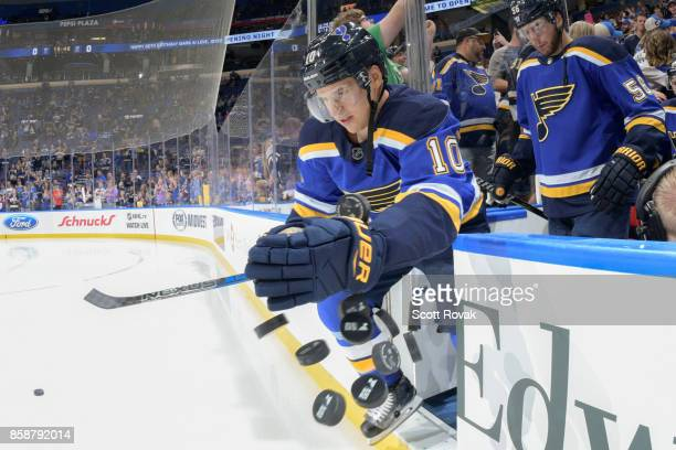 Brayden Schenn of the St Louis Blues takes the ice for warmups before the game against the Dallas Stars on October 7 2017 at Scottrade Center in St...