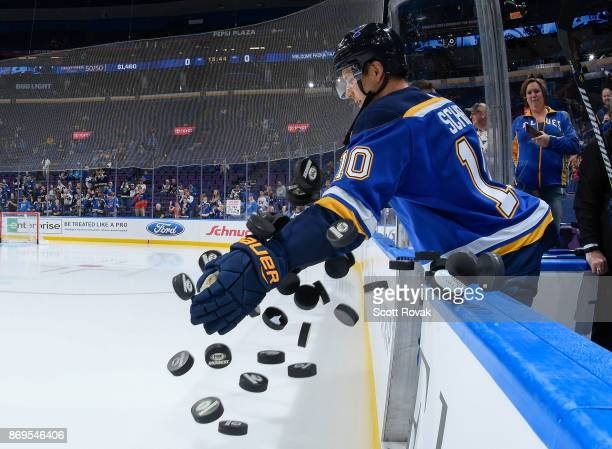 Brayden Schenn of the St Louis Blues takes the ice for warmups before the game against the Philadelphia Flyers at Scottrade Center on November 2 2017...