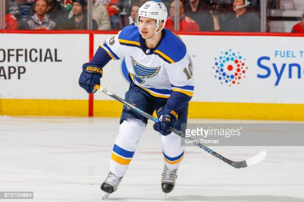 Brayden Schenn of the St Luis Blues looks for a pass in an NHL game against the St Louis Blues at the Scotiabank Saddledome on November 13 2017 in...