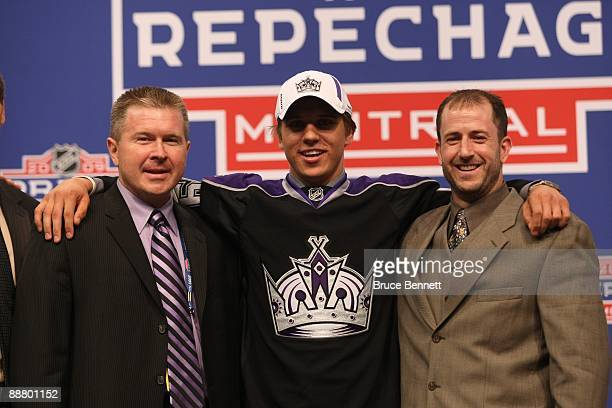 Brayden Schenn poses with Los Angeles Kings CoDirectors of Amateur Scouting Michael Futa and Mark Yannetti after being drafted during the first round...