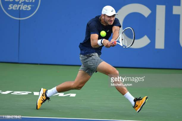 Brayden Schnur of Canada host shot from JoWilfried Tsonga of the France during Day 1 of the Citi Open at Rock Creek Tennis Center on July 29 2019 in...