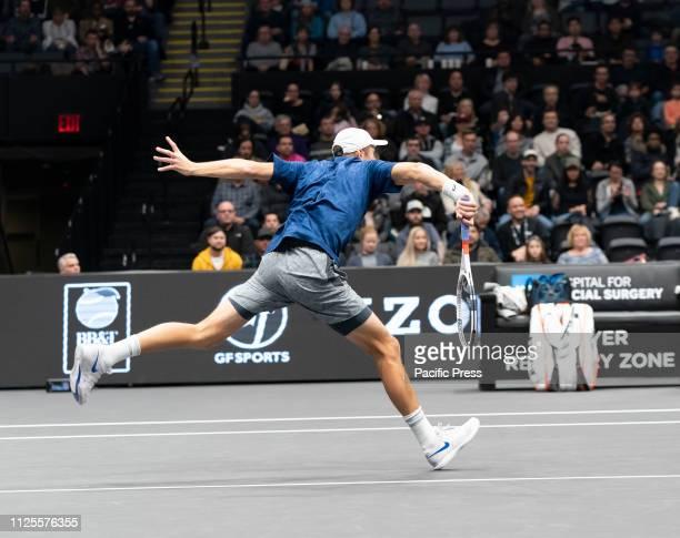 Brayden Schnur of Canada returns ball during final of New York Open ATP 250 tournament against Reilly Opelka of USA at Nassau Coliseum.