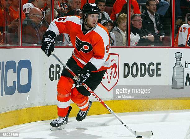 Braydon Coburn of the Philadelphia Flyers skates against of the Pittsburgh Penguins during Game Three of the Eastern Conference Quarterfinal Round of...