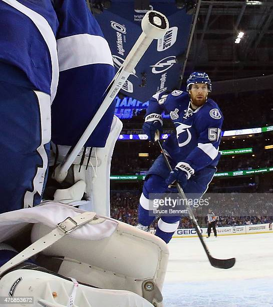 Braydon Coburn of the Tampa Bay Lightning skates against the Chicago Blackhawks during Game One of the 2015 NHL Stanley Cup Final at Amalie Arena on...