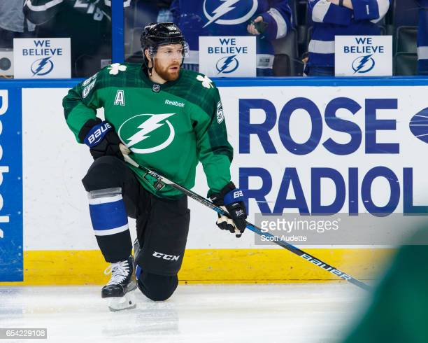 809fe8cfc Braydon Coburn of the Tampa Bay Lightning wears a green St Patrick's Day  warmup jersey as