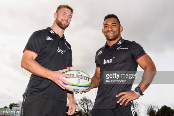 Braydon Ennor and Sevu Reece pose following a Crusaders Super Rugby media conference at Rugby Park on July 04 2019 in Christchurch New Zealand