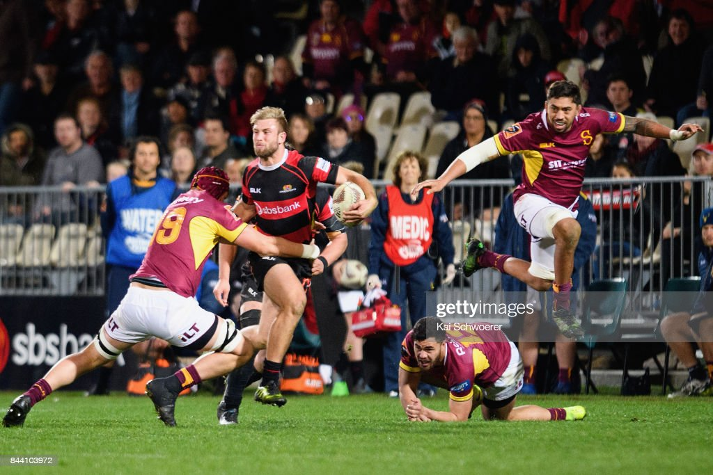 Braydon Ennor of Canterbury charges forward during the Ranfurly Shield round four Mitre 10 Cup match between Canterbury and Southland on September 8, 2017 in Christchurch, New Zealand.