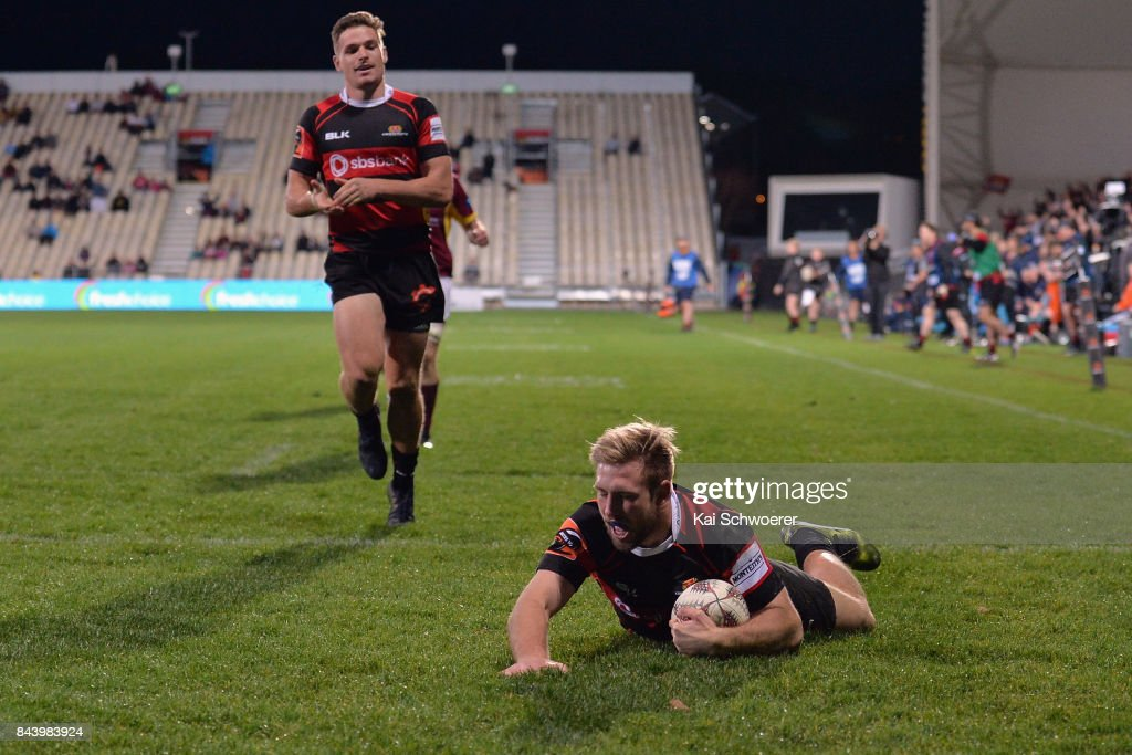 Braydon Ennor of Canterbury dives over to score a try during the Ranfurly Shield round four Mitre 10 Cup match between Canterbury and Southland on September 8, 2017 in Christchurch, New Zealand.