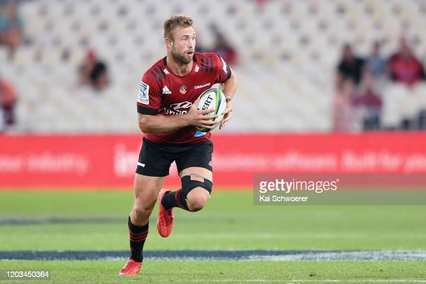 Braydon Ennor of the Crusaders charges forward during the Round 1 Super Rugby match between the Crusaders and the Waratahs at Trafalgar Park on...