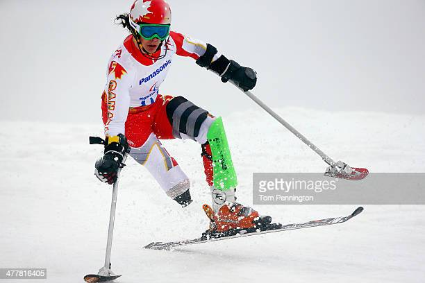 Braydon Luscombe of Canada competes in the Men's SC Slalom Run 1 Standing during day four of Sochi 2014 Paralympic Winter Games at Rosa Khutor Alpine...