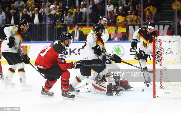 Braydon Point of Canada misses a good chance during the 2017 IIHF Ice Hockey World Championship Quarter Final game between Canada and Germany at...