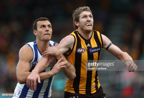 Braydon Preuss of the Kangaroos and Ben McEvoy of the Hawks compete for the ball during the round 21 AFL match between the Hawthorn Hawks and the...
