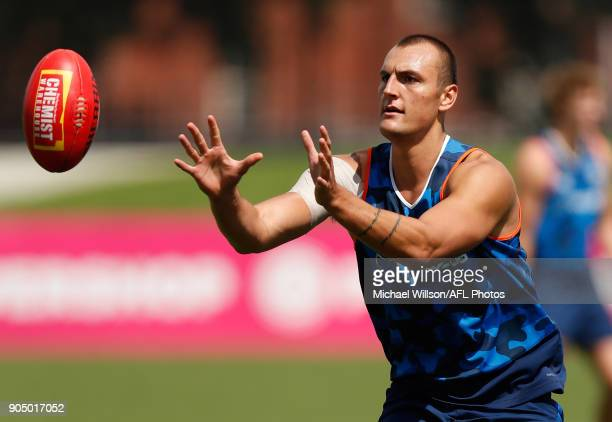 Braydon Preuss of the Kangaroos in action during a North Melbourne Kangaroos Training Session at Arden Street Ground on January 15 2018 in Melbourne...