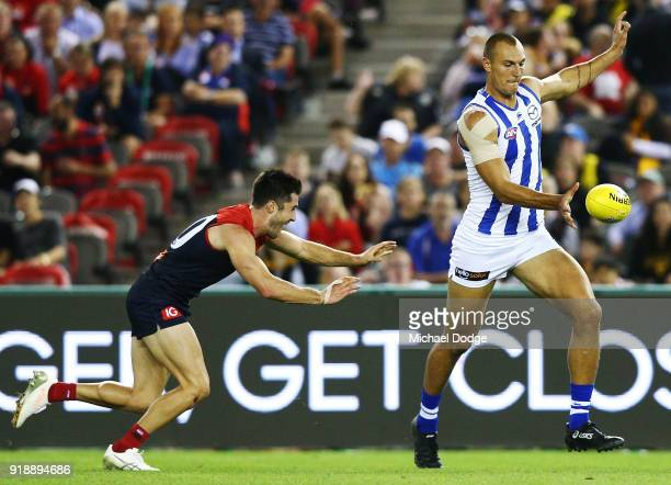 Braydon Preuss of the Kangaroos kicks the ball for a goal during the AFLX match between North Melbourne and Melbourne Demons at Etihad Stadium on...