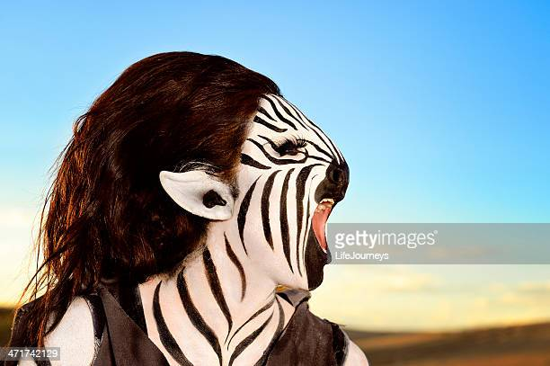 braying zebra - humanoid - body paint stock pictures, royalty-free photos & images