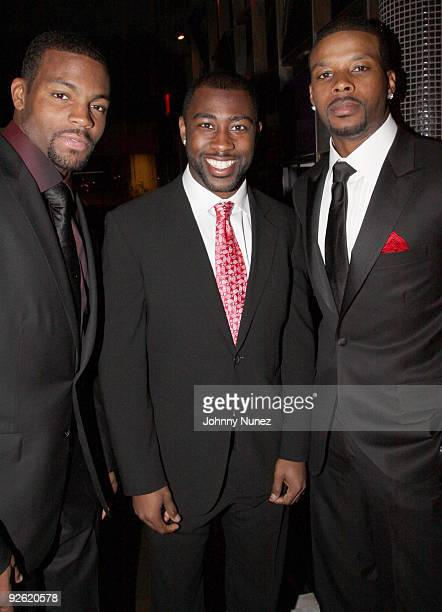 Braylon Edwards, Darrelle Revis and Kerry Rhodes attend the Kerry Rhodes Foundation black tie dinner at STK on November 2, 2009 in New York City.