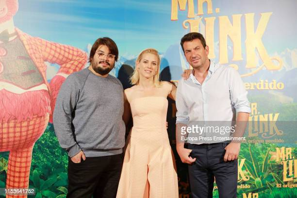 "Brays Efe, Maggie Civantos and Arturo Valls attend ""Mr. Link. El Origen Perdido"" photocall at Urso Hotel on June 04, 2019 in Madrid, Spain."