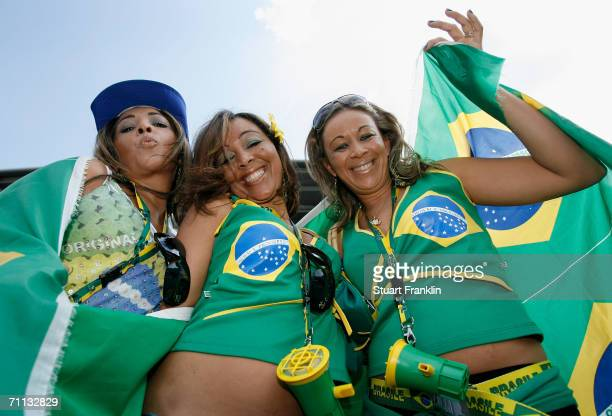 Braziian football fans before the international friendly match between Brazil and New Zealand at the Stadium de Geneva on June 4, 2006 in Geneva,...