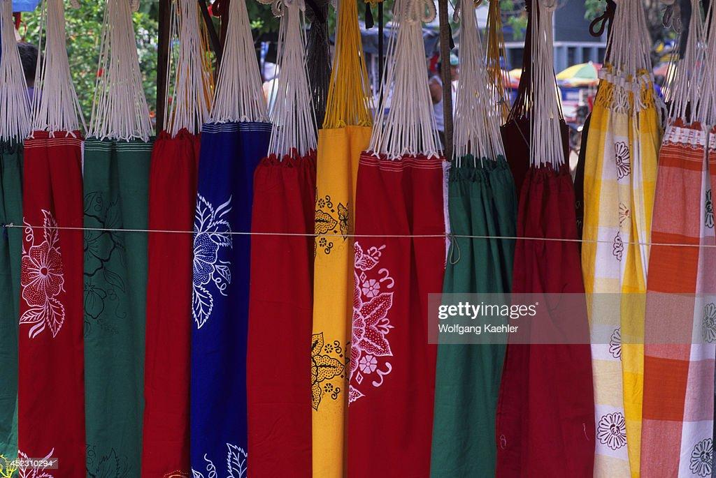Brazil, Amazon River, Santarem, Colorful Hammocks For Sale.