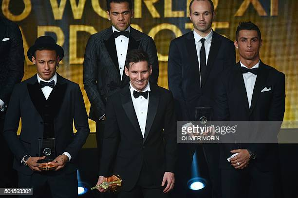 Brazil and FC Barcelona forward Neymar Brazil and FC Barcelona defender Dani Alves Argentina and FC Barcelona forward Lionel Messi Spain and FC...