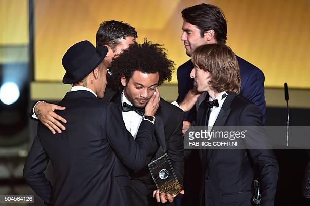 Brazil and FC Barcelona forward Neymar Brazil and Paris SaintGermain defender Thiago Silva Brazil and Real Madrid defender Marcelo and Croatia and...