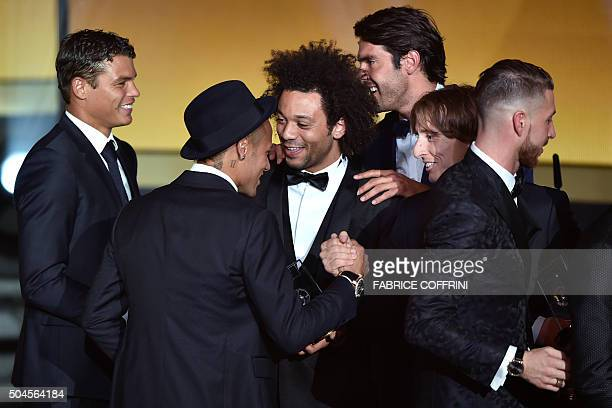Brazil and FC Barcelona forward Neymar Brazil and Paris SaintGermain defender Thiago Silva Brazil and Real Madrid defender Marcelo and Croatia Real...