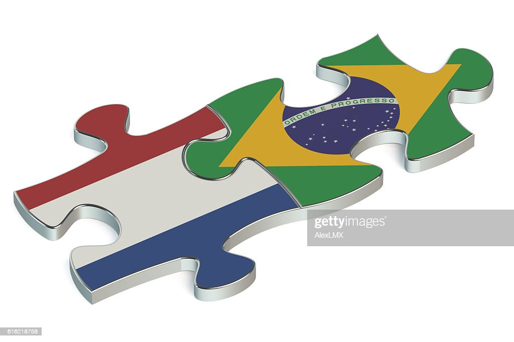 Brazil and Netherlands puzzles from flags : Stock Photo