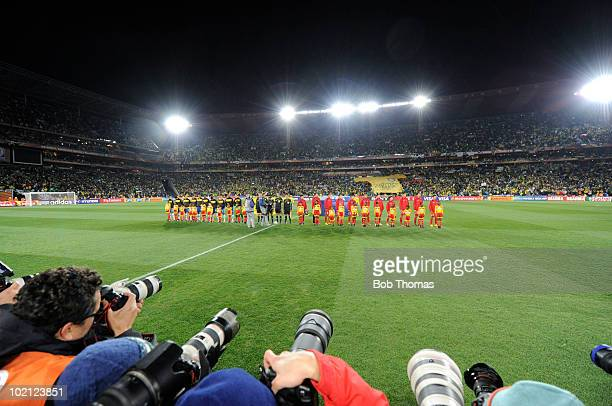 Brazil and North Korea teams line up before the 2010 FIFA World Cup South Africa Group G match between Brazil and North Korea at Ellis Park Stadium...