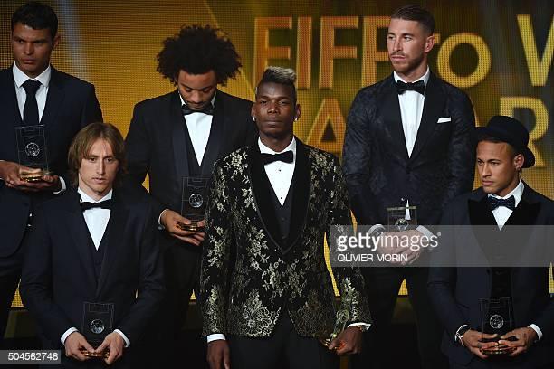Brazil and Paris SaintGermain defender Thiago Silva Croatia and Real Madrid midfielder Luka Modric Brazil and Real Madrid defender Marcelo France and...