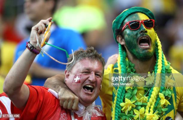 Brazil and Switzerland fans enjoy the pre match atmosphere prior to the 2018 FIFA World Cup Russia group E match between Brazil and Switzerland at...