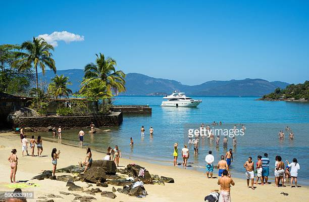 Brazil Angra Dos Reis bay people on the beach of Ponta de Pietade