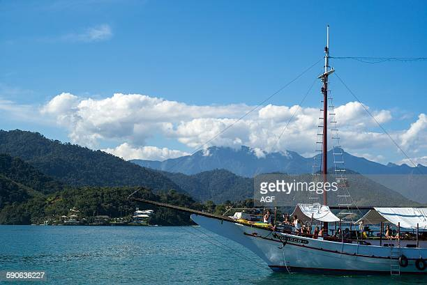 Brazil Angra Dos Reis bay tourist boat in the Lagoa Azul area