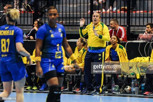 Brazil assistant coach Sergio Graciano during the handball women's international friendly match between France and Brazil on October 1 2017 in...