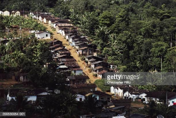 Brazil, Bahia, houses built on hillside of cocoa plantation