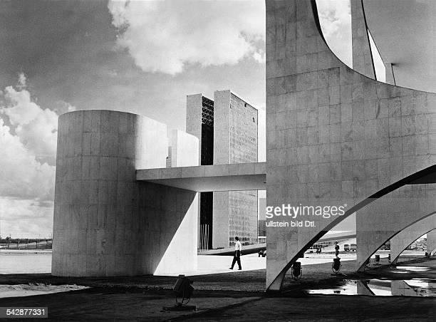 Brazil capital Brasilia the parliament architect Oscar Niemeyer around 1961