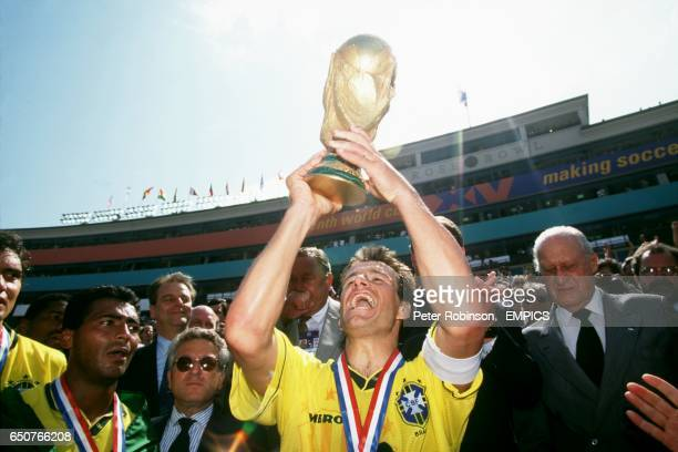 Brazil captain Dunga lifts the World Cup